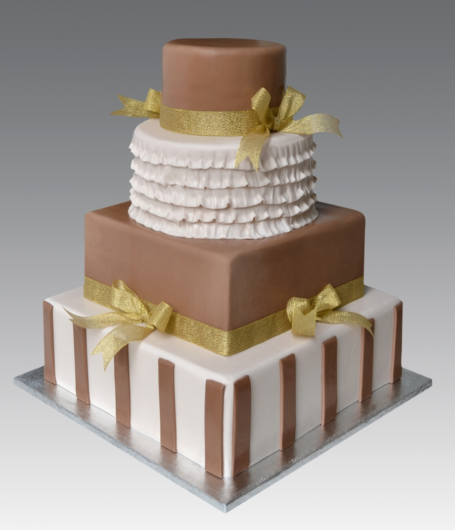 Ruffle Gold Wedding Cake on Cake Central