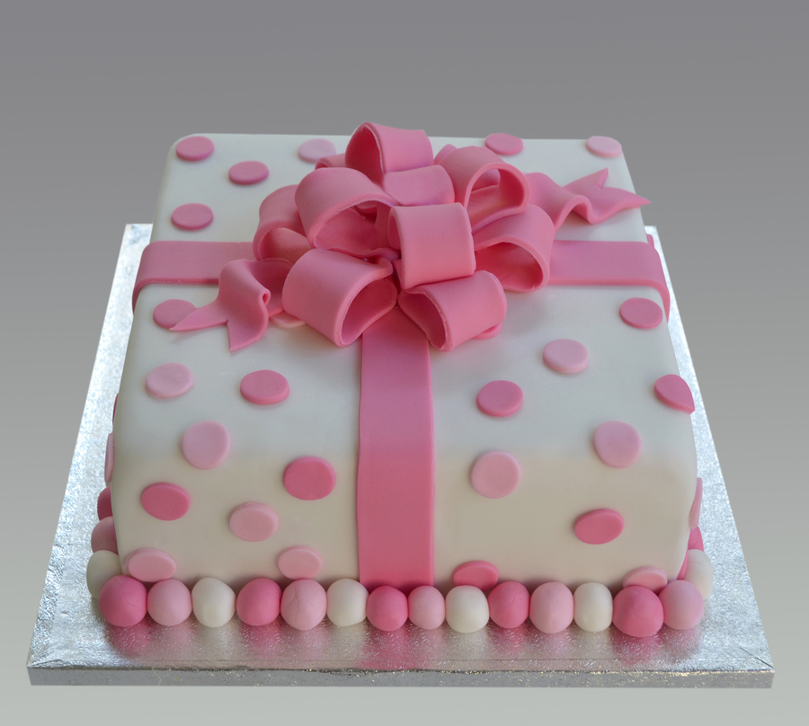 Pink Dot Bow Cake on Cake Central