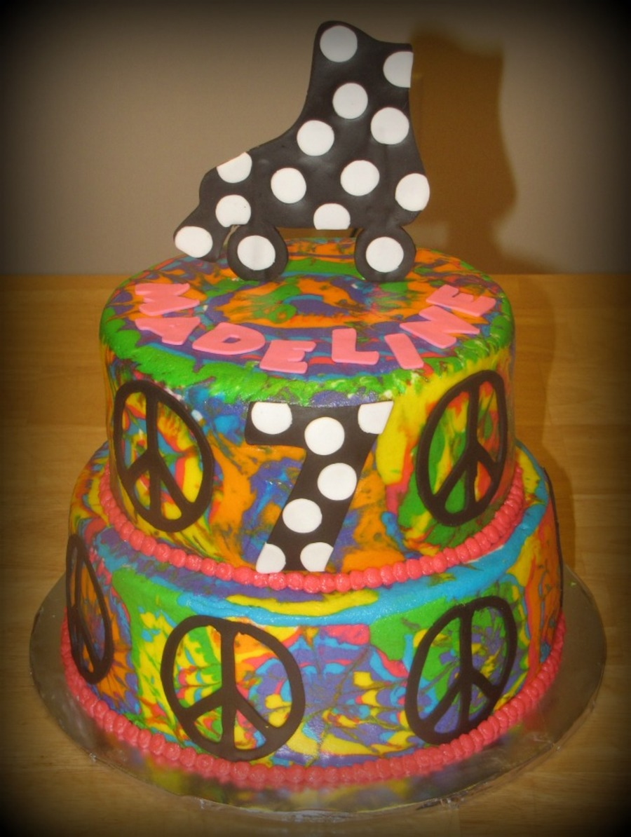 Buttercream Tie Dye Skate Party Cake  on Cake Central