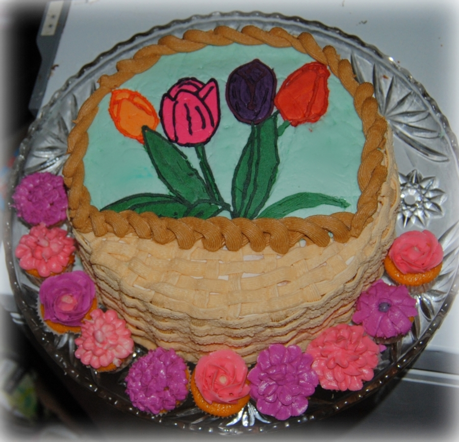 Basket Of Flowers on Cake Central