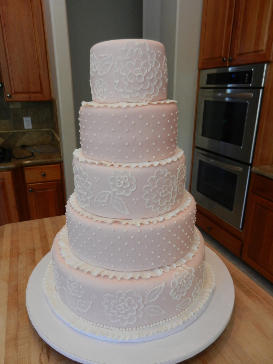 White Embroidery On Pink on Cake Central