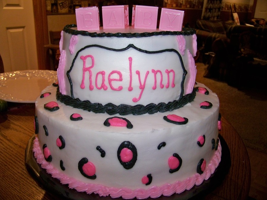 Baby Shower Cake Pink And Black Cheetah Print W Zebra Stripes