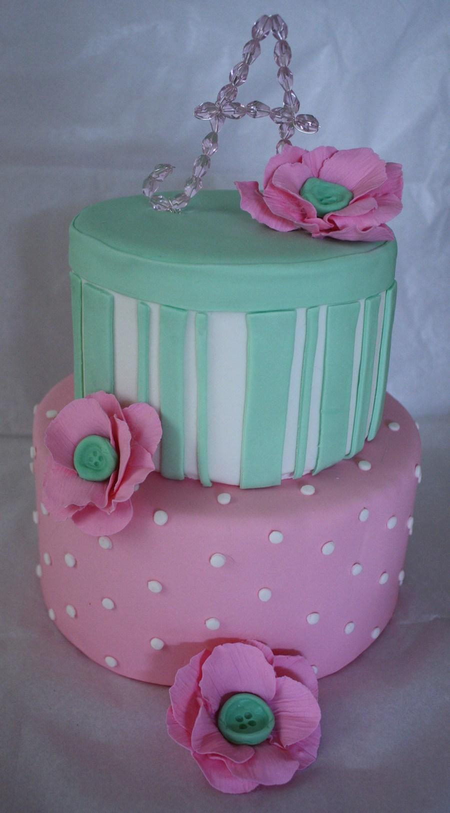 Pink Green Flower Cake on Cake Central