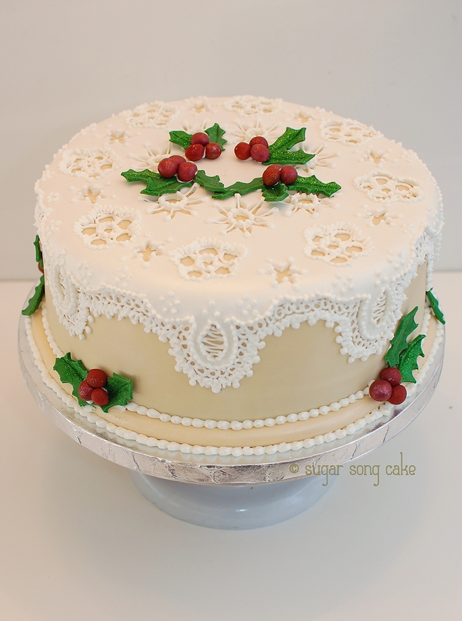 Vintage Lace Holiday Cake on Cake Central