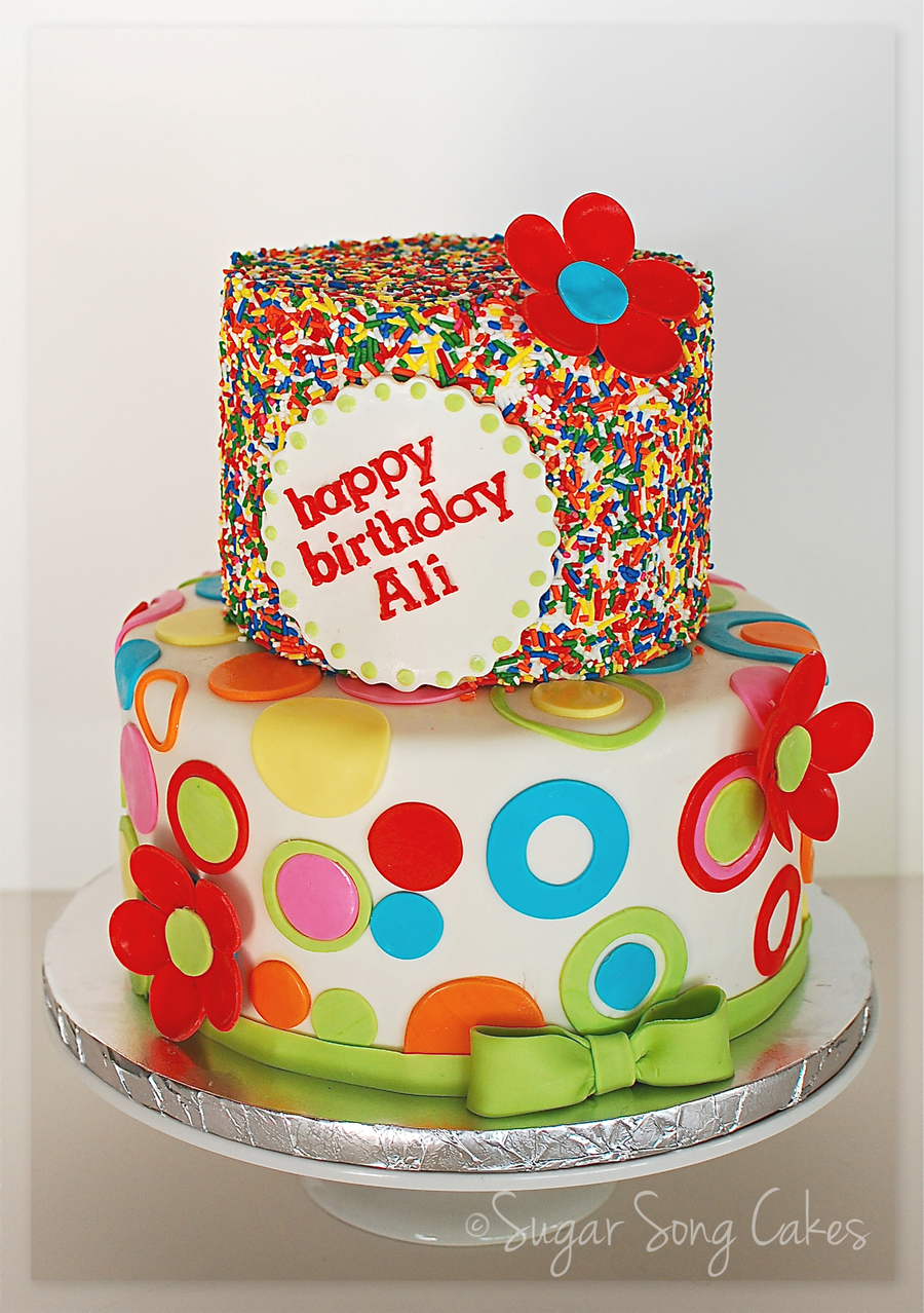 Sprinkles And Circles Birthday Cake Cakecentral