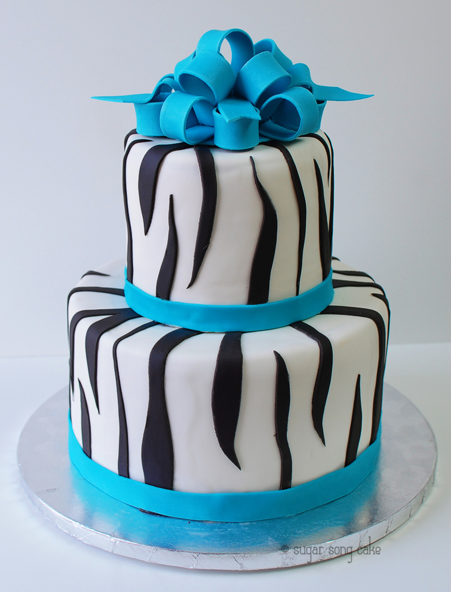 Zebra Two Tier With Sky Blue Bow on Cake Central