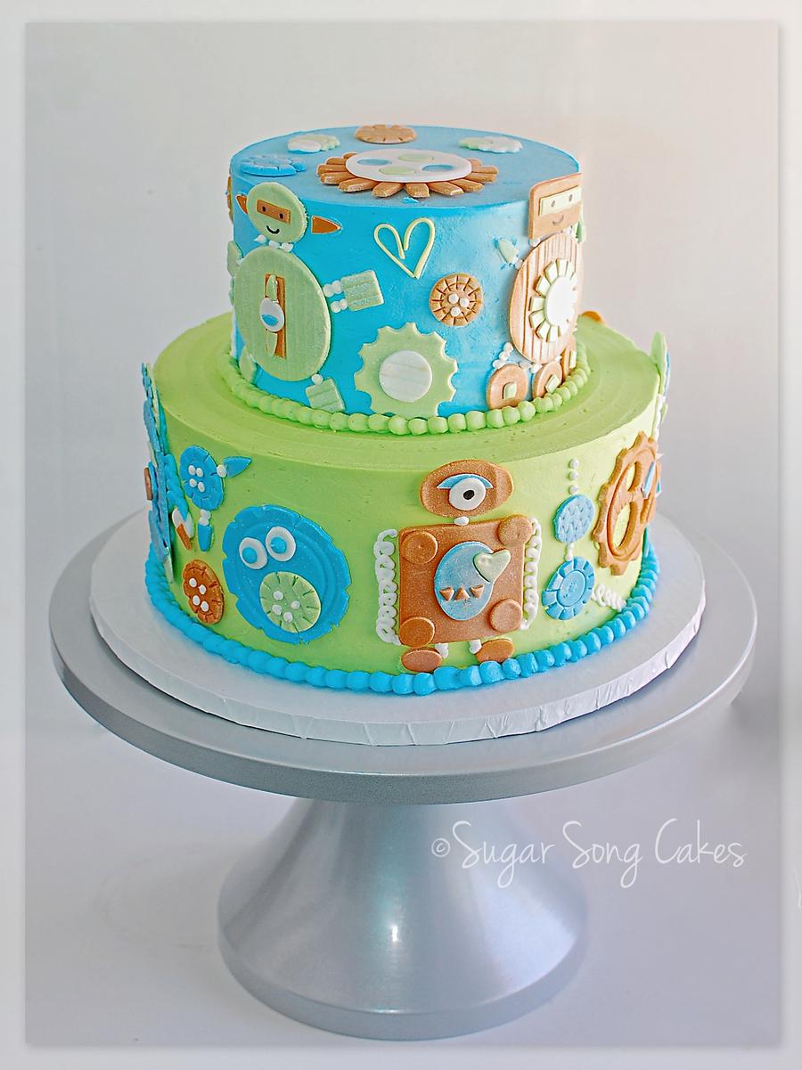 Pleasant Robot Birthday Cake Cakecentral Com Funny Birthday Cards Online Alyptdamsfinfo