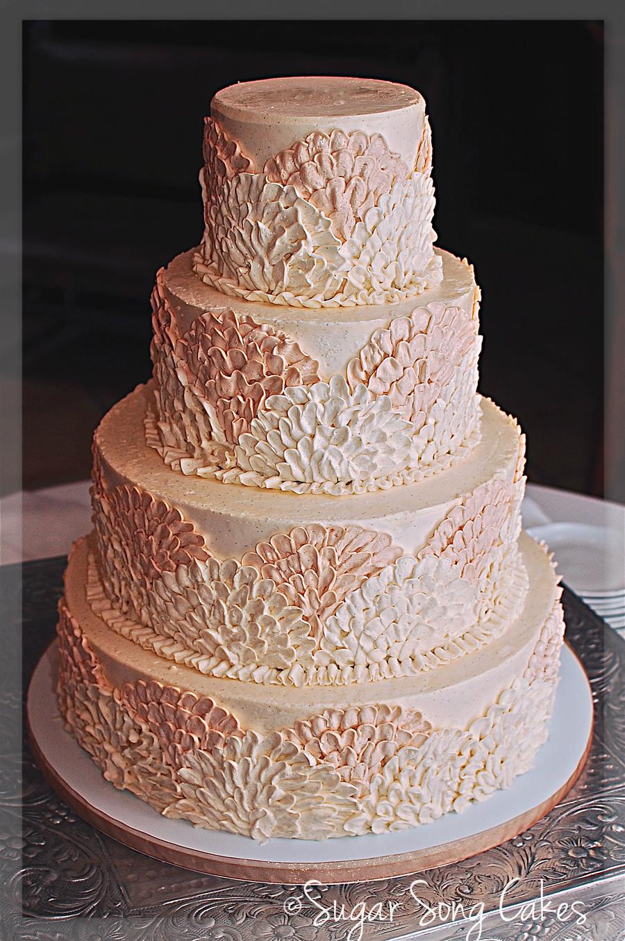 Buttercream Fan Wedding Cake - CakeCentral com
