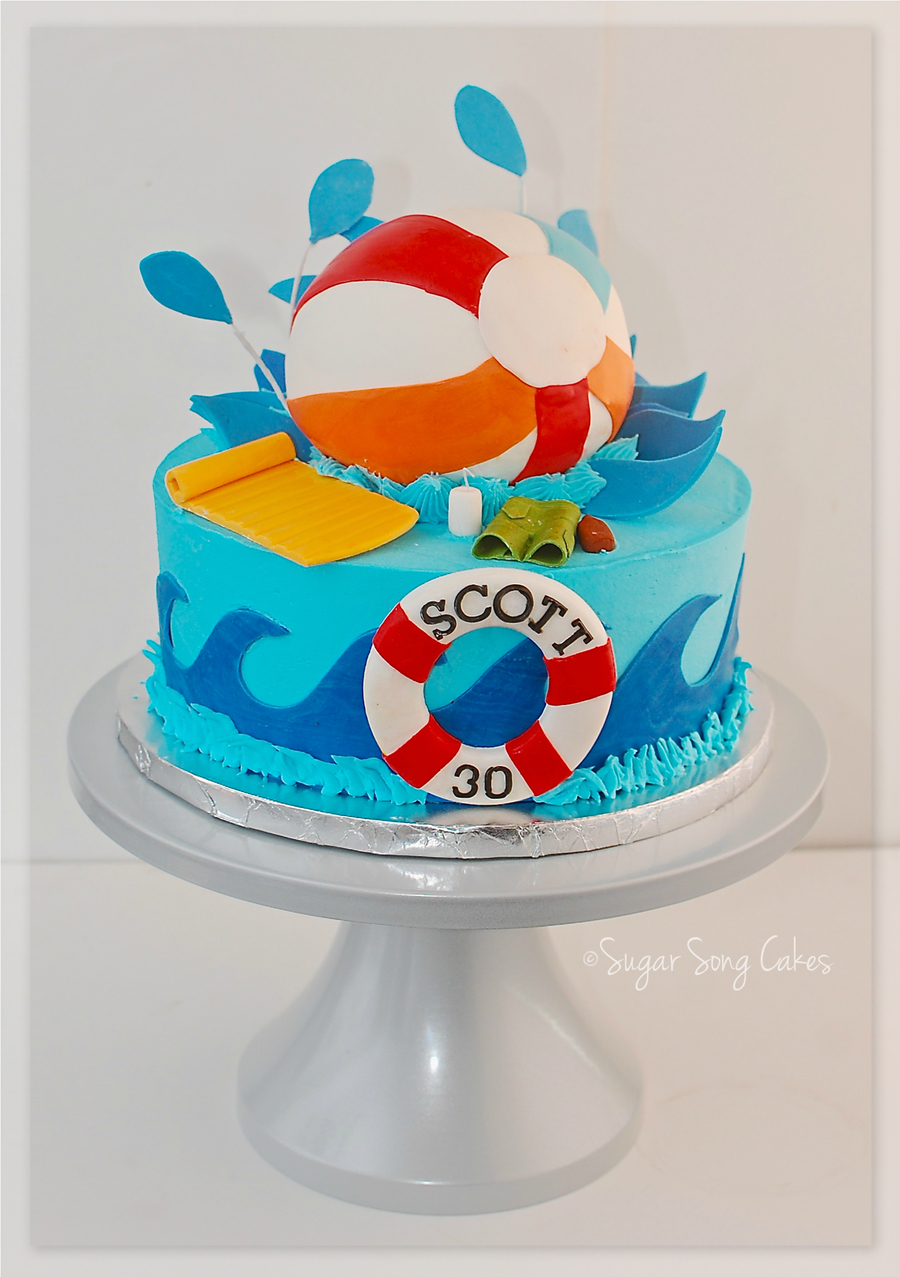 Birthday Cake Ideas For A Pool Party : Pool Party Beach Ball Cake - CakeCentral.com