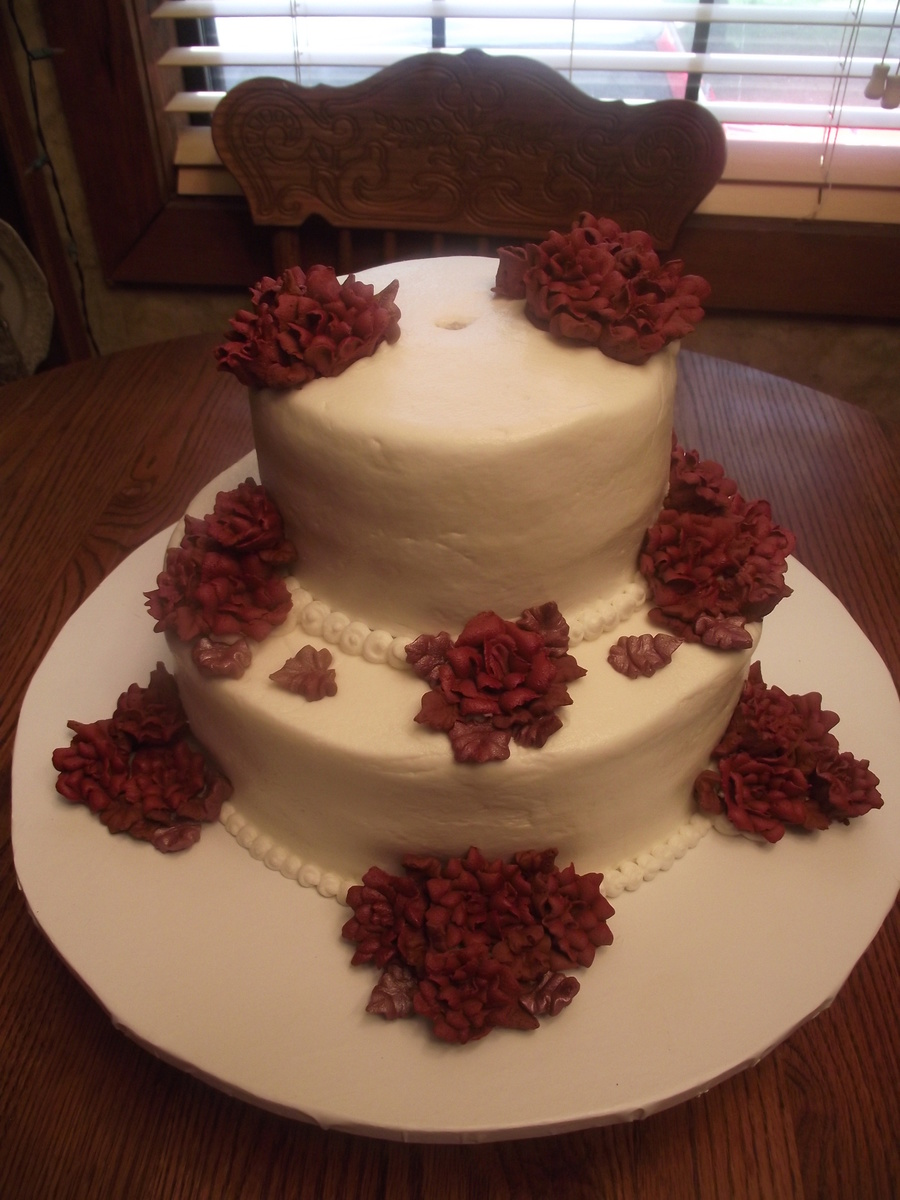 Small Wedding Cake With Burgundy Roses on Cake Central
