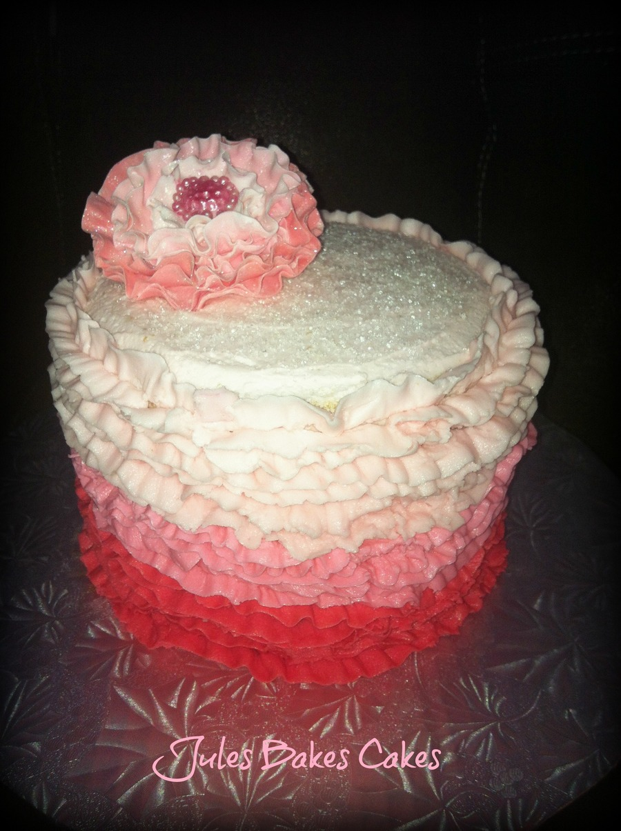 Ombre Ruffle Cake on Cake Central