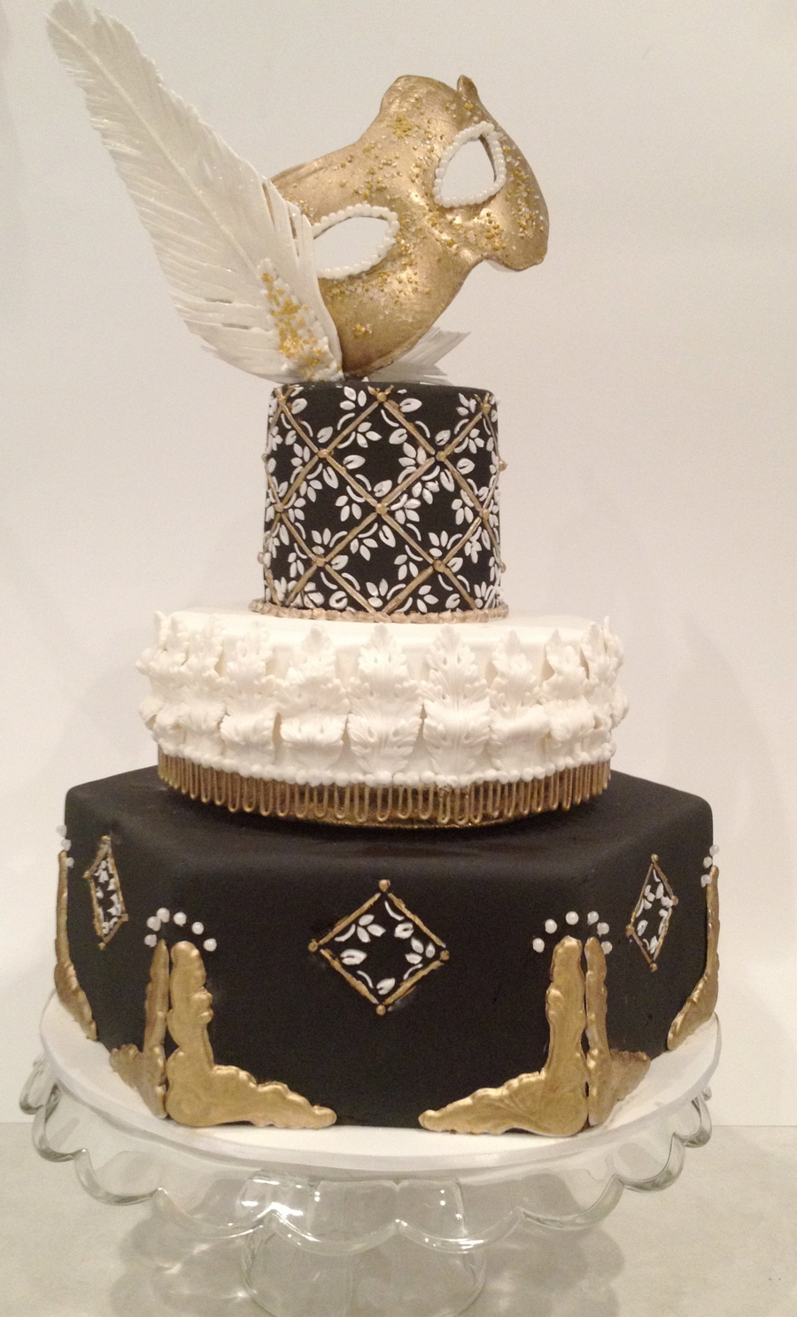 Black And White Masquerade Cake