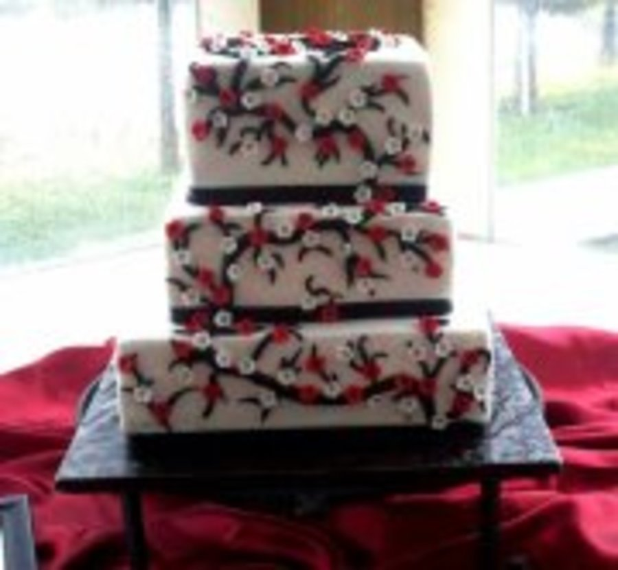 Square Cherry Blossom Wedding Cake on Cake Central