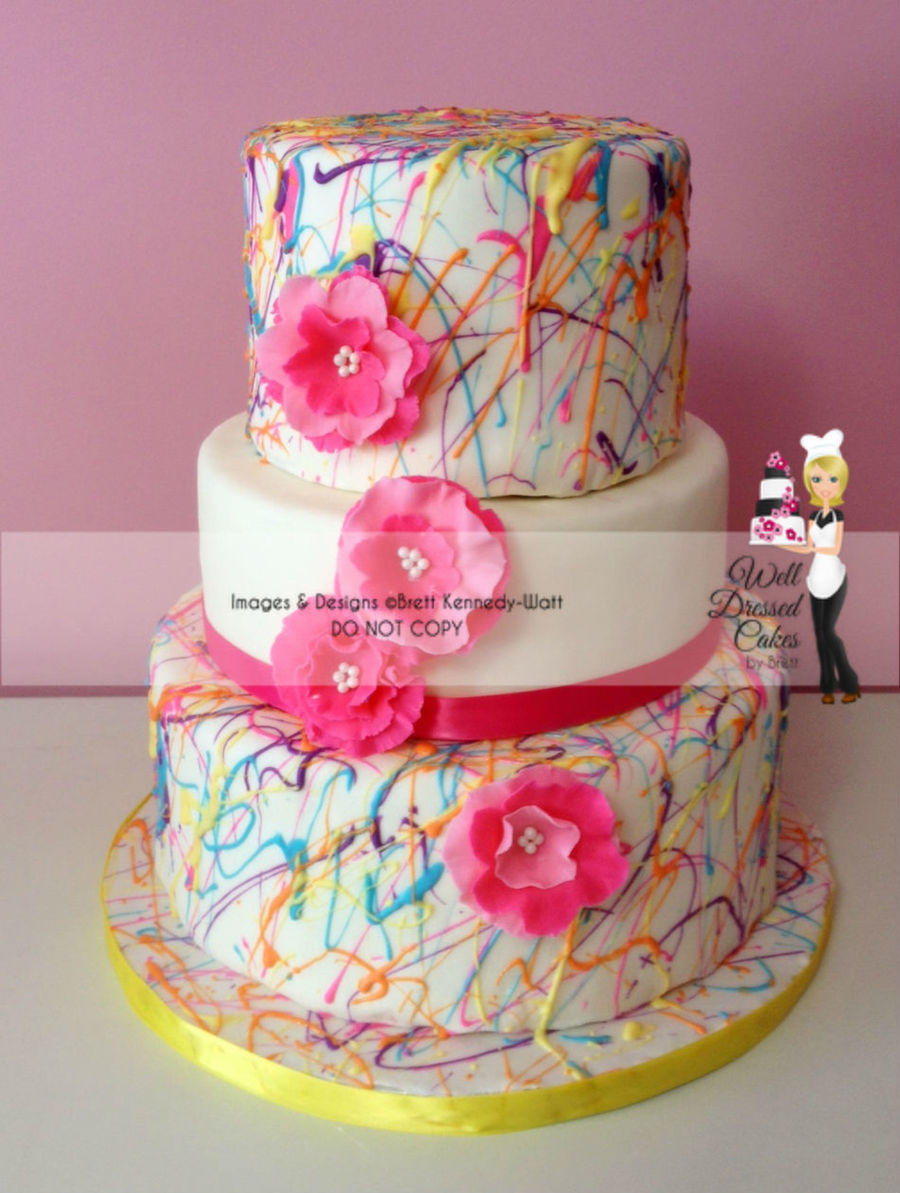 Pink Paint Splatter Cake  on Cake Central