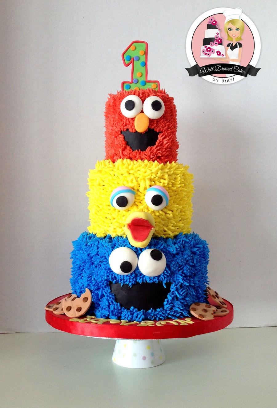 Cake Decorating Sesame Street Birthday : 3 Tier Sesame Street Birthday Cake - CakeCentral.com