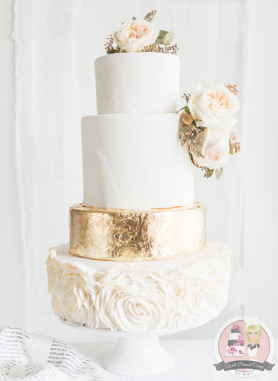 wedding cake gold foil gold leaf wedding cake cakecentral 22777