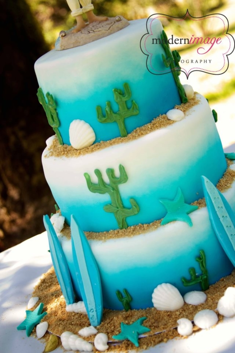 Beach Surfboard Wedding Cake on Cake Central