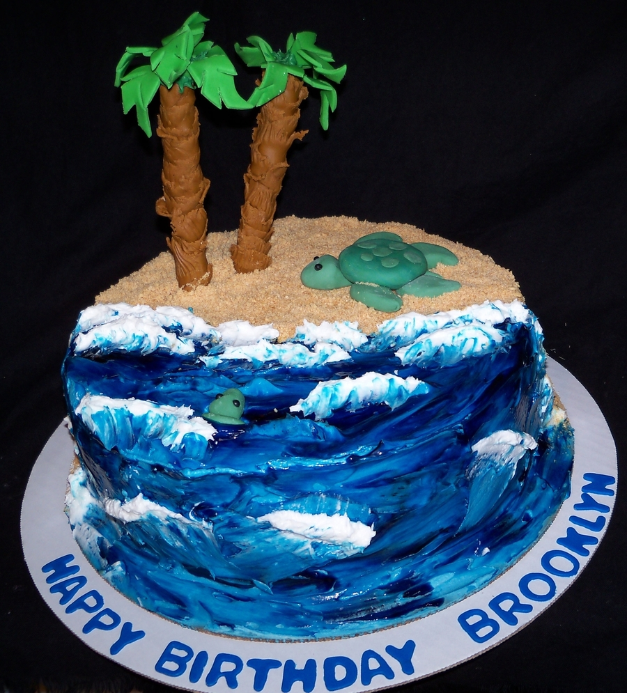 Ocean Waves And Sea Turtle  on Cake Central