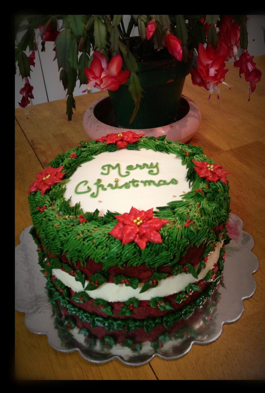 Red Velvet Cheesecake Christmas Cake! - CakeCentral.com