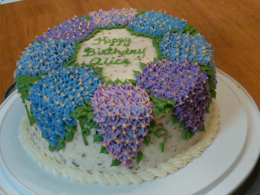 Hydrangea Italian Cream Birthday Cake Cakecentral