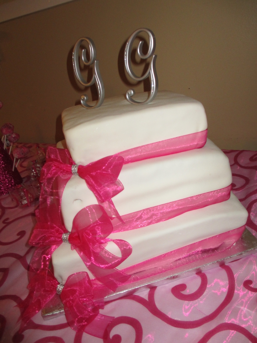 Pink/white Square Wedding Cake  on Cake Central