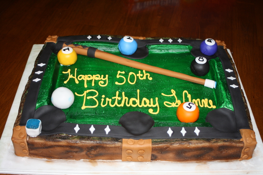 This Was My First Pool Table Cake I Learned A Lot Of What Not To Do But I Was Pretty Happy With The Outcome on Cake Central