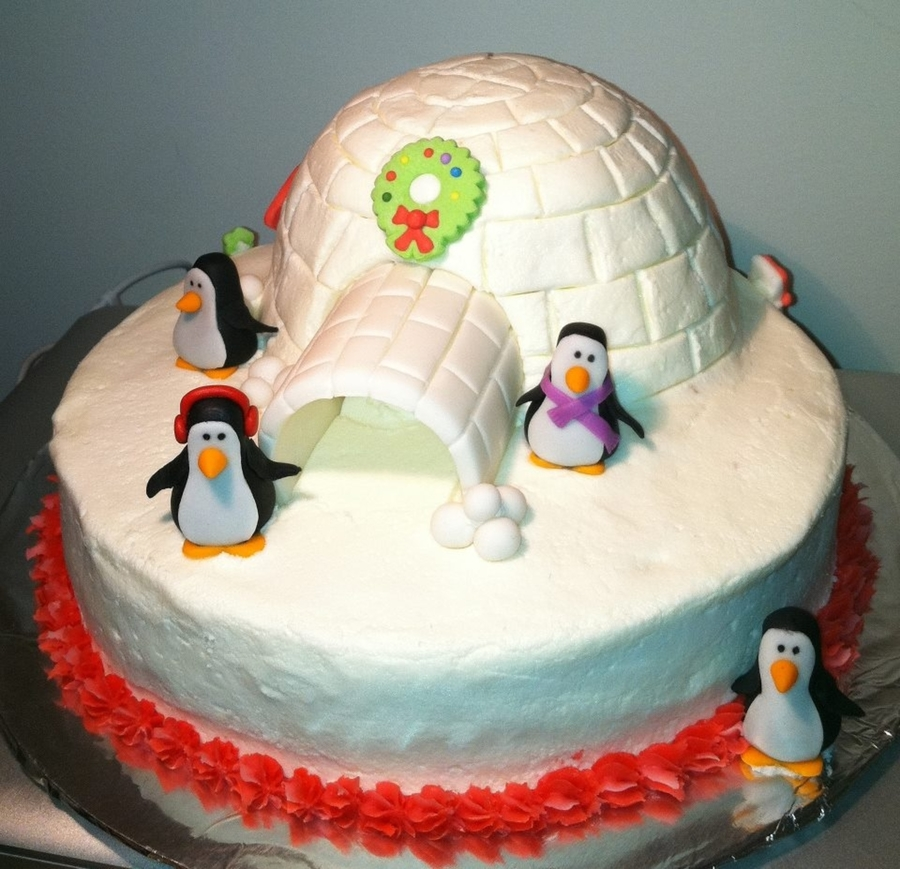 Christmas Igloo And Penguins on Cake Central