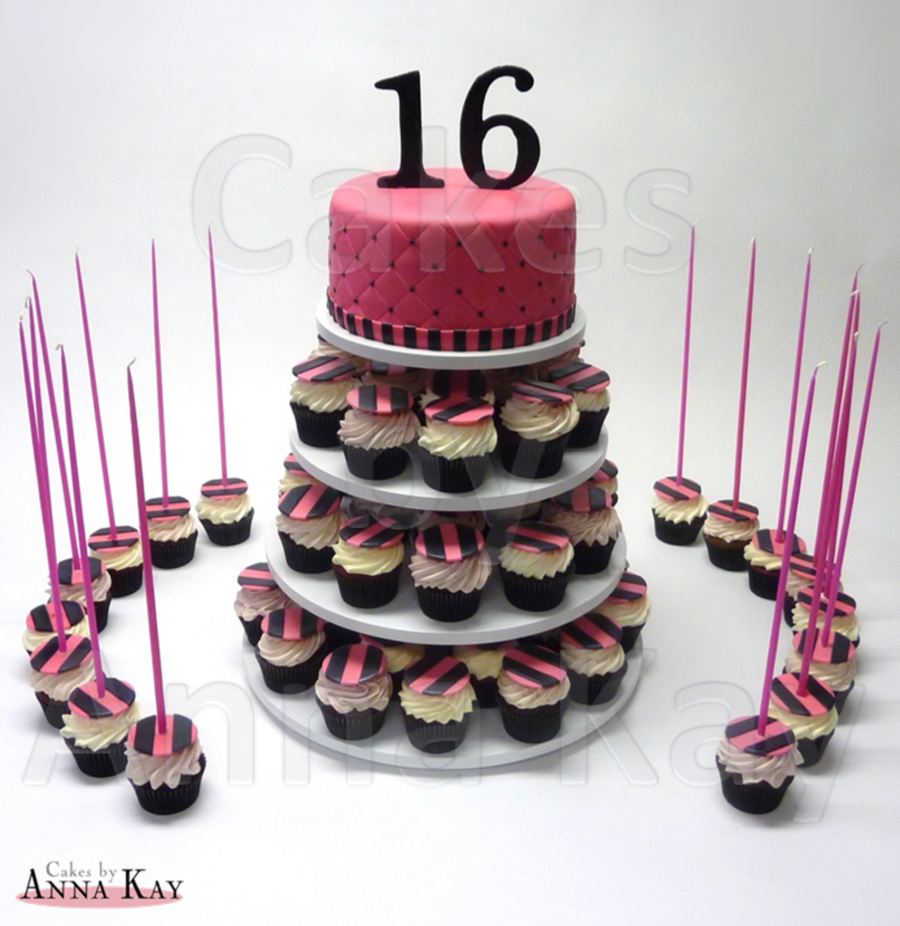 Sweet Sixteen Cupcake Tower on Cake Central