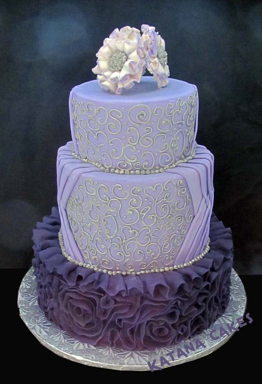 Purple Fondant Ruffle With Silver Piping Cakecentral Com