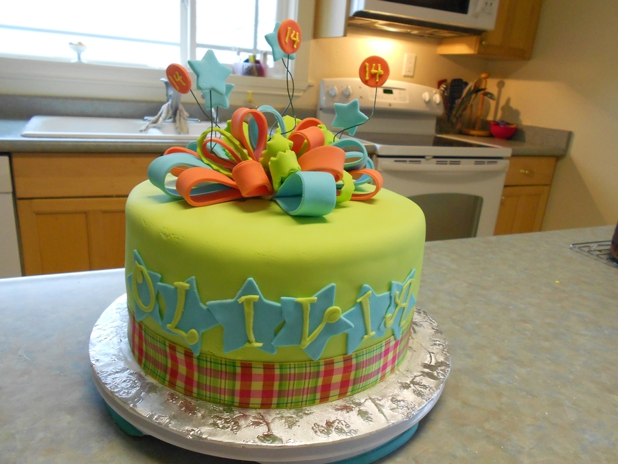 Lime Green Birthday Cake  on Cake Central