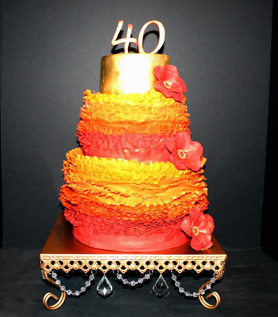 40th Birthday Cake Frills Made Of Fondant Cakecentral