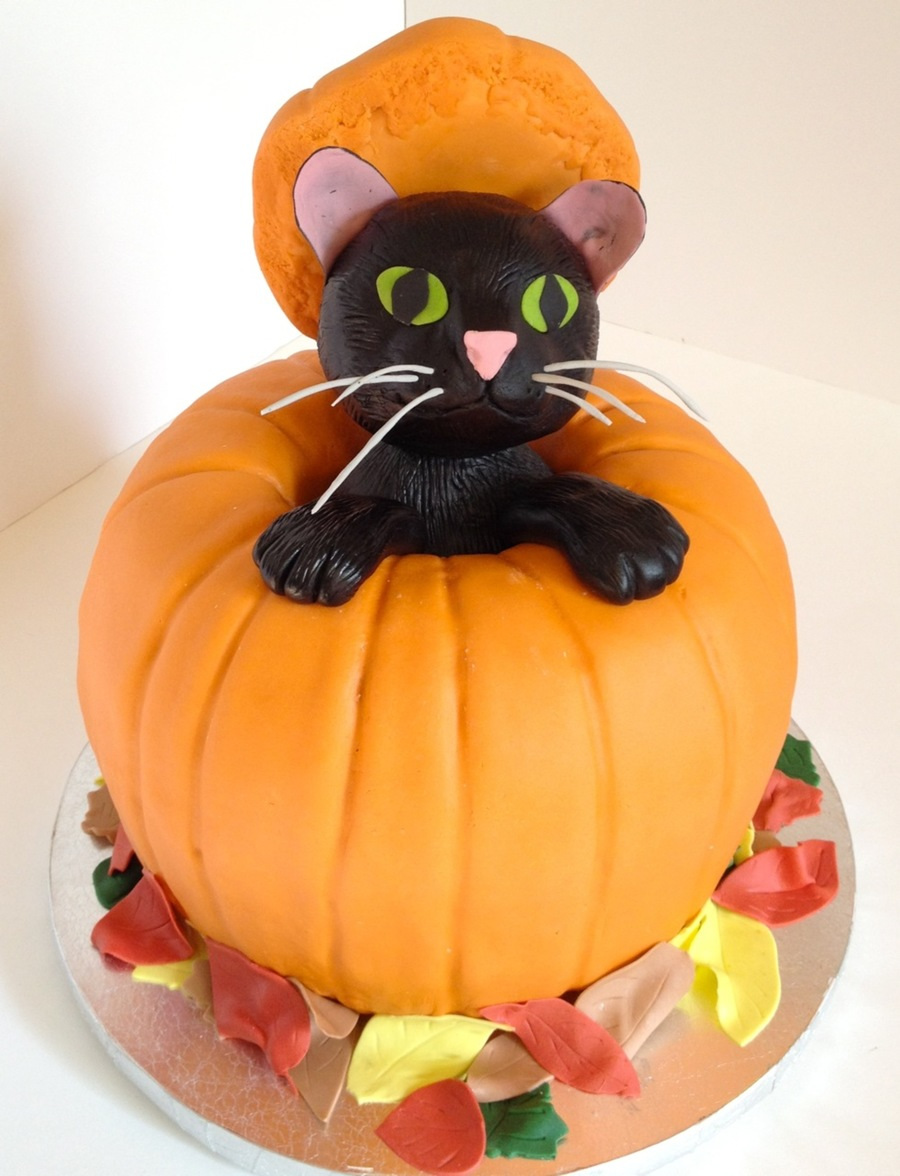 Pumpkin Halloween Cake With Black Cat On Cake Central