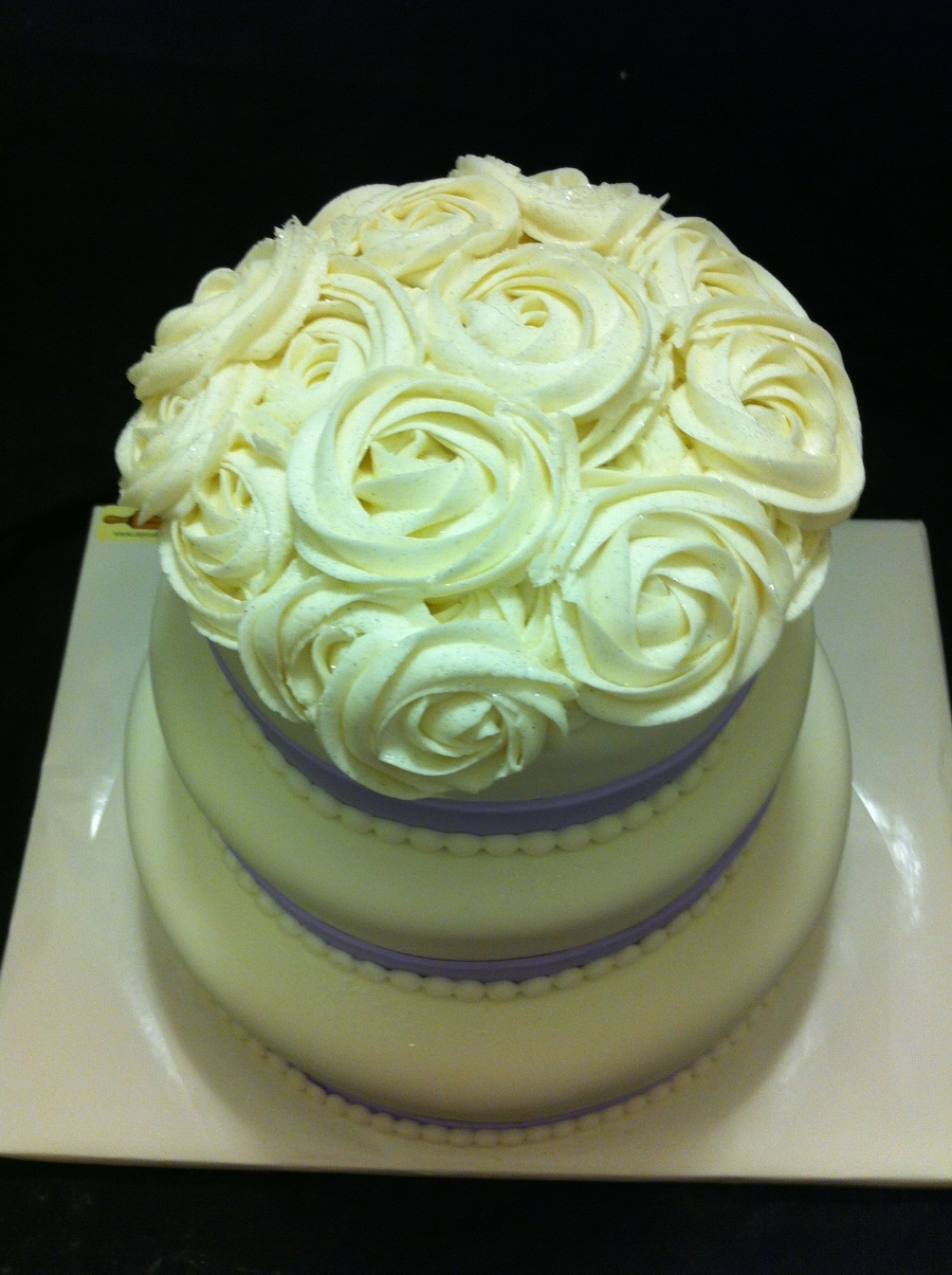 Wedding Cake Topped With Roses on Cake Central