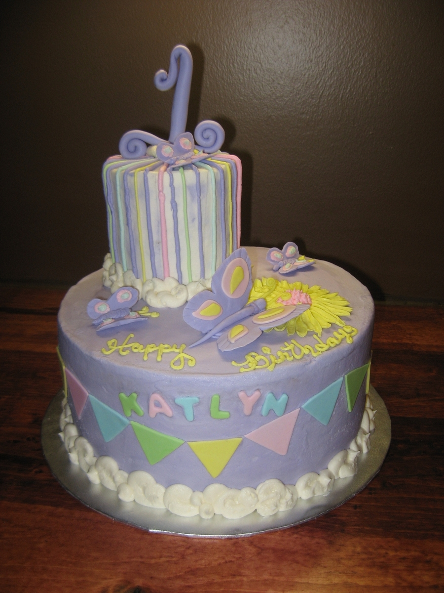 Purple First Birthday Cake on Cake Central