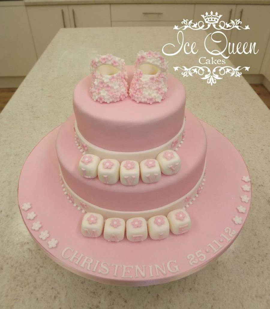 Blossom Shoes Christening Cake  on Cake Central