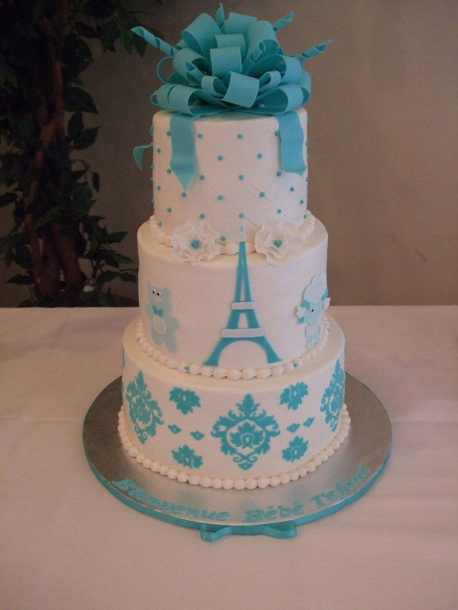 Parisian Chic Themed Baby Boy Shower Cake Cakecentral