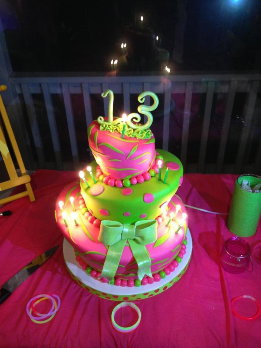 Terrific Neon Topsy Turvy 13Th Birthday Cakecentral Com Birthday Cards Printable Giouspongecafe Filternl