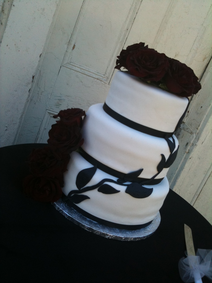 White And Black Wedding Cake on Cake Central