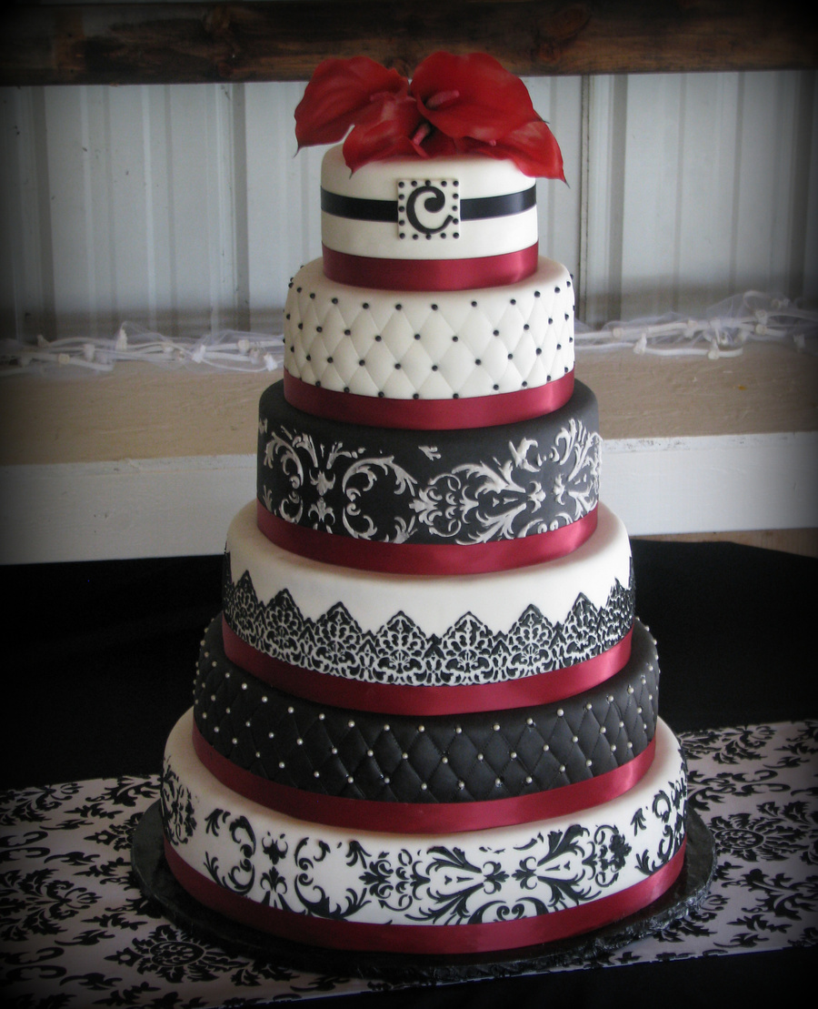 Burgandy, Black And White Wedding on Cake Central