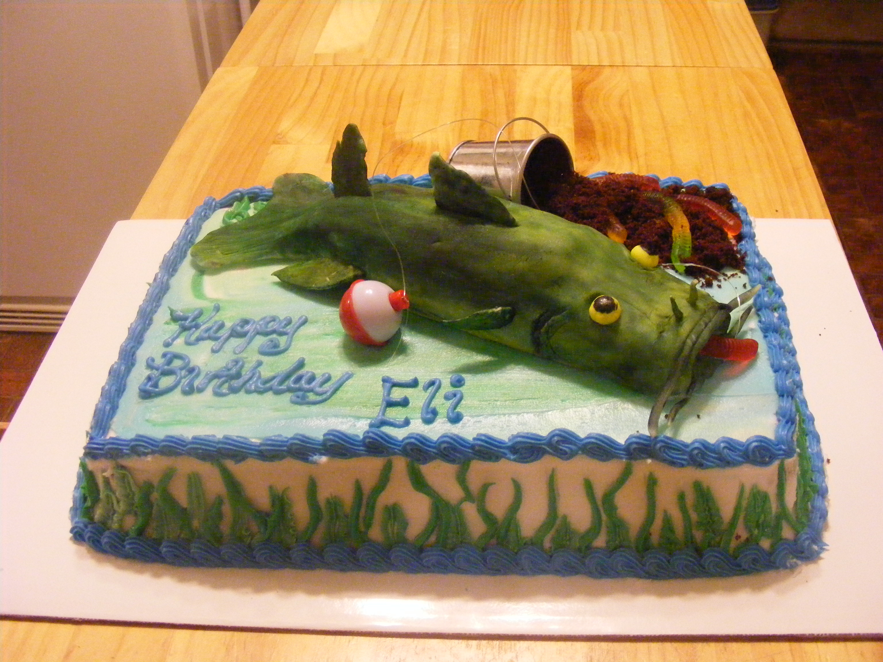 Fondant Catfish Chocolate Cake Dirt Gummy Worms A Little Fishing