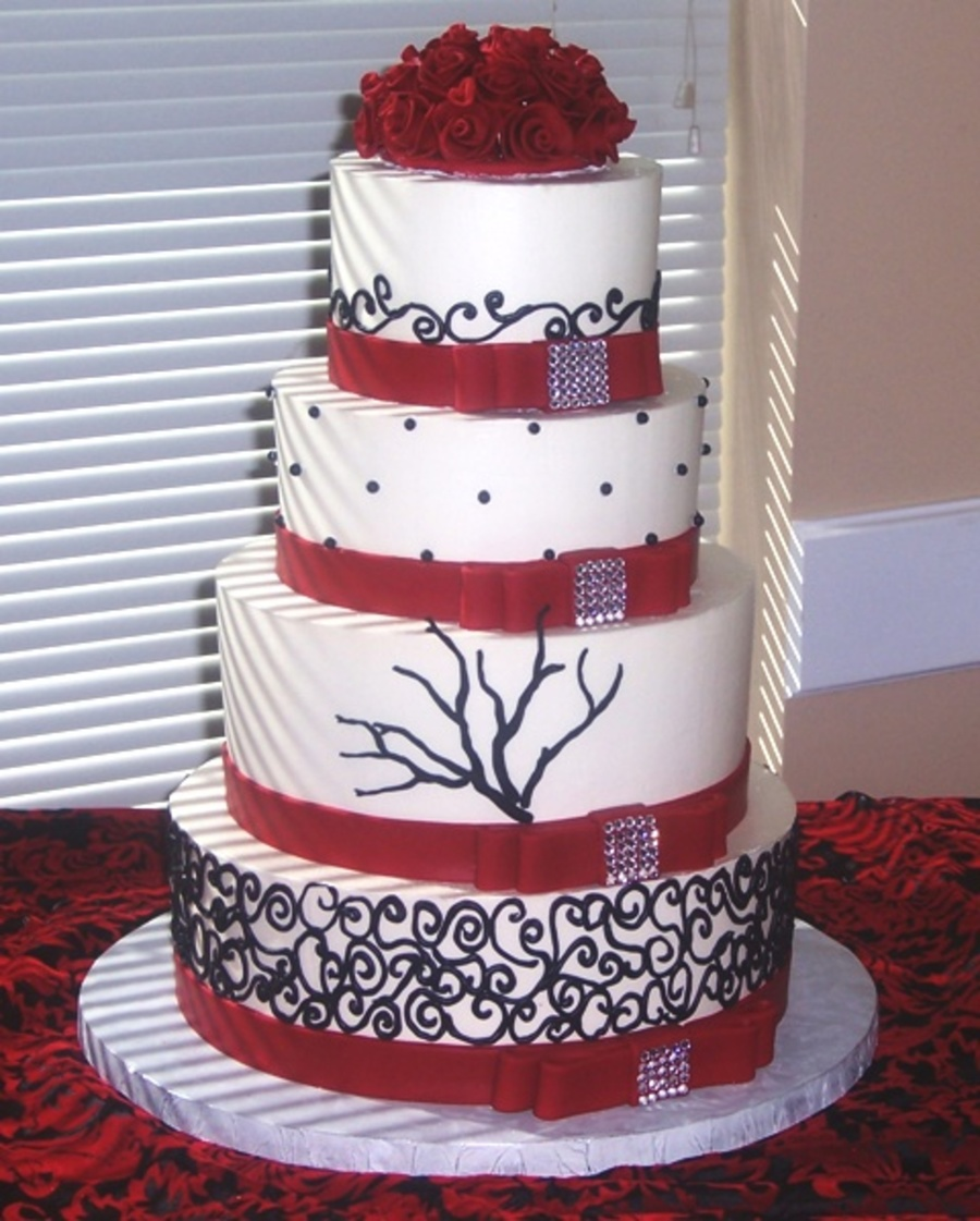 Red, Black And White Red Rose Wedding on Cake Central