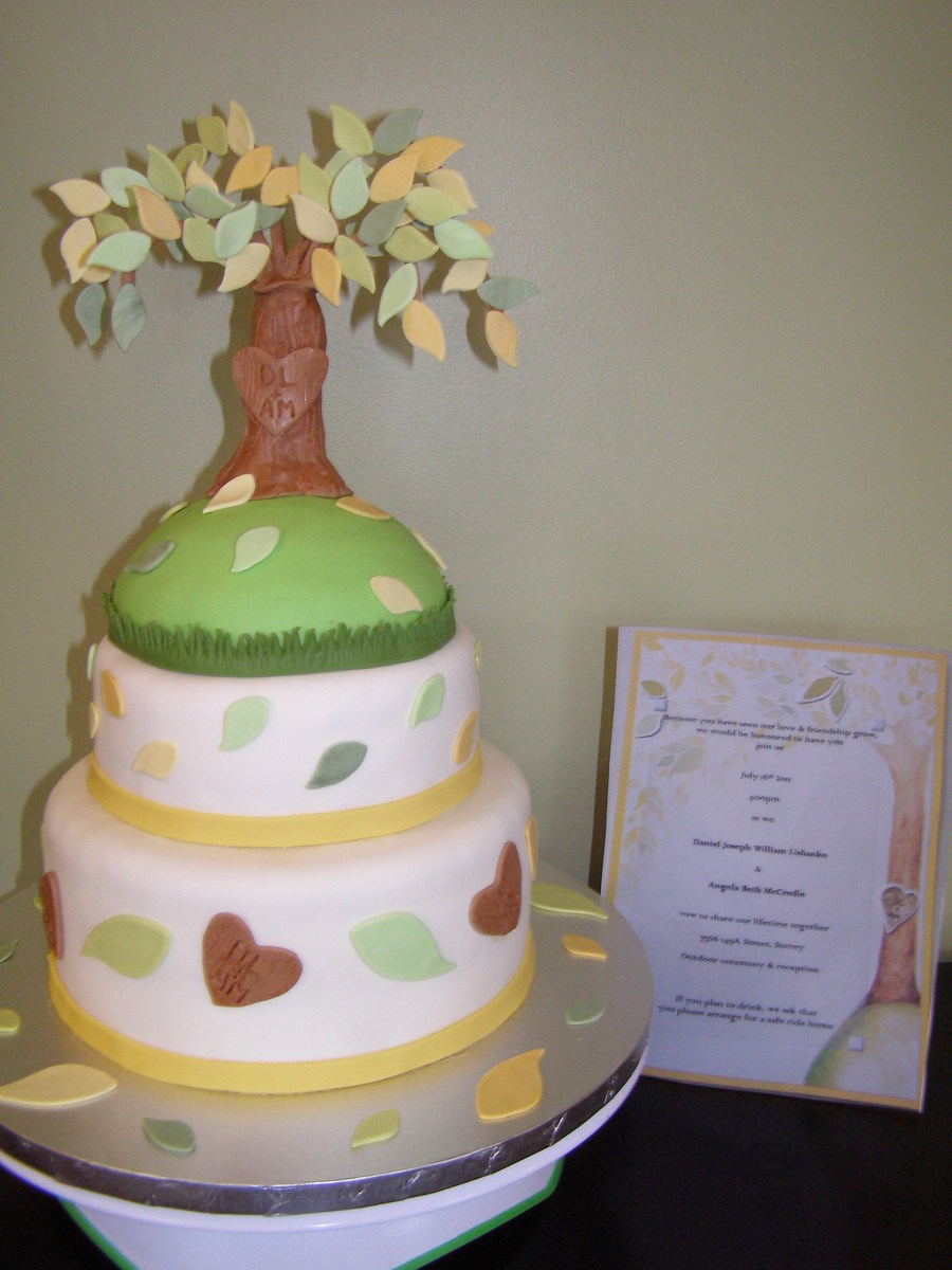 Tree With Carved Initials  on Cake Central