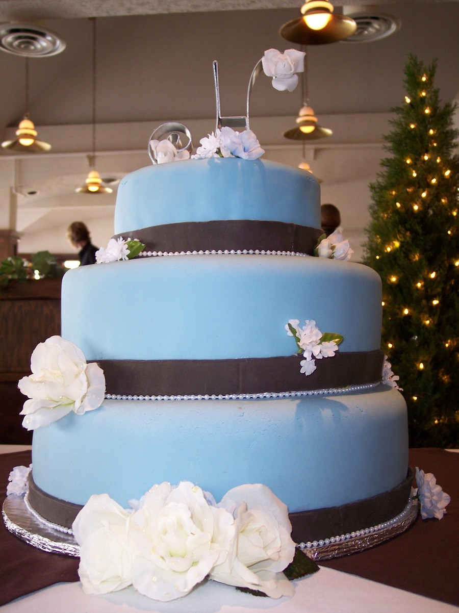 Blue Brown Weddingjpg on Cake Central