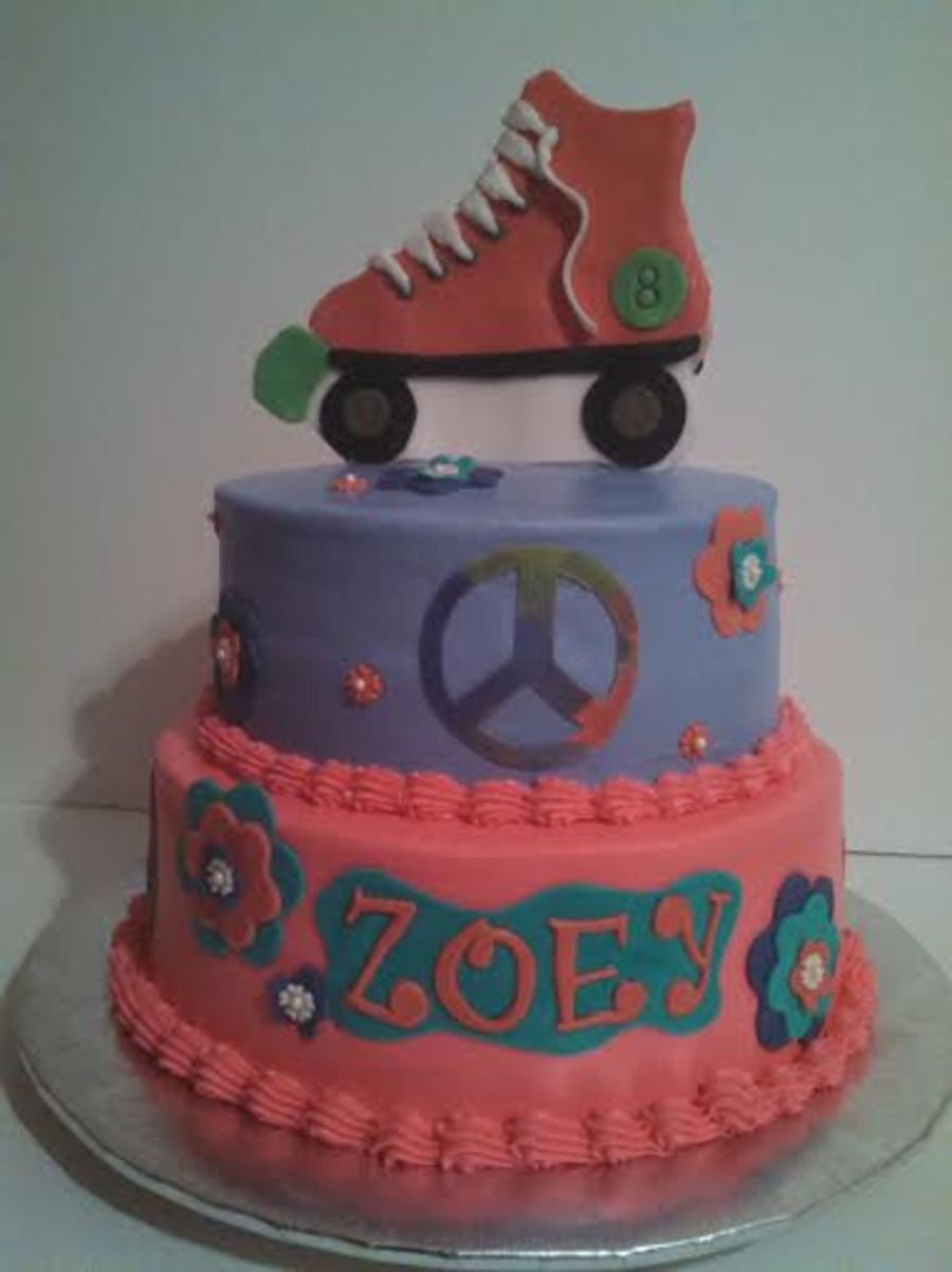 Buttercream 3 D Roller Skate Cake With Peace Sign And Flowers