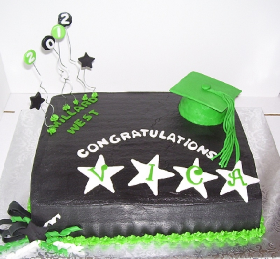 Green And Black Graduation Cake on Cake Central