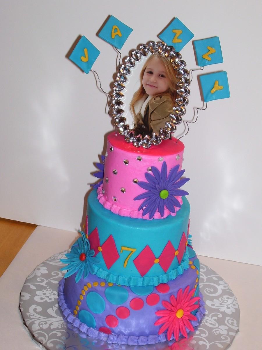3 Tier Birthday Cake With Circles Diamonds Flowers Spring Birthday