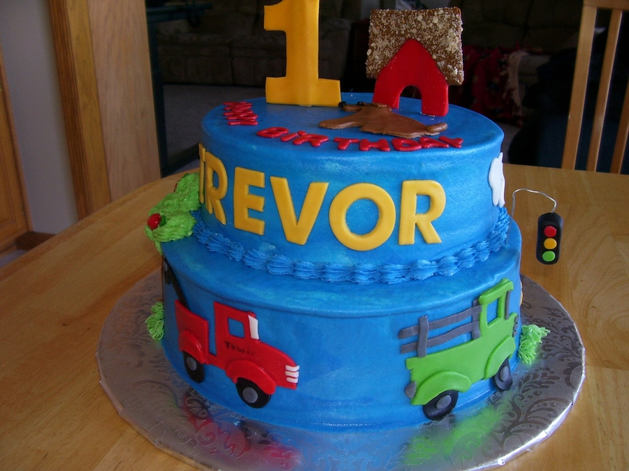 First Birthday Cake With Cars And Trucks CakeCentralcom