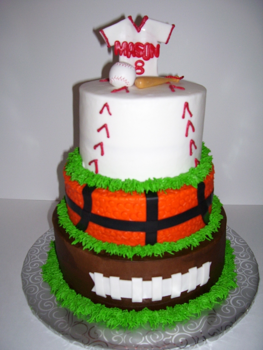 All Sports Cake,football,baseball,basketball  on Cake Central