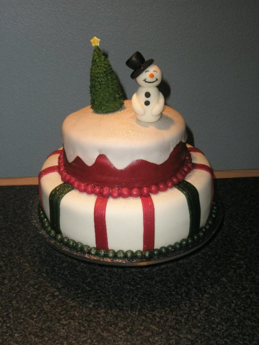 A Christmas Cake With A Snowman And A Christmas Tree on Cake Central