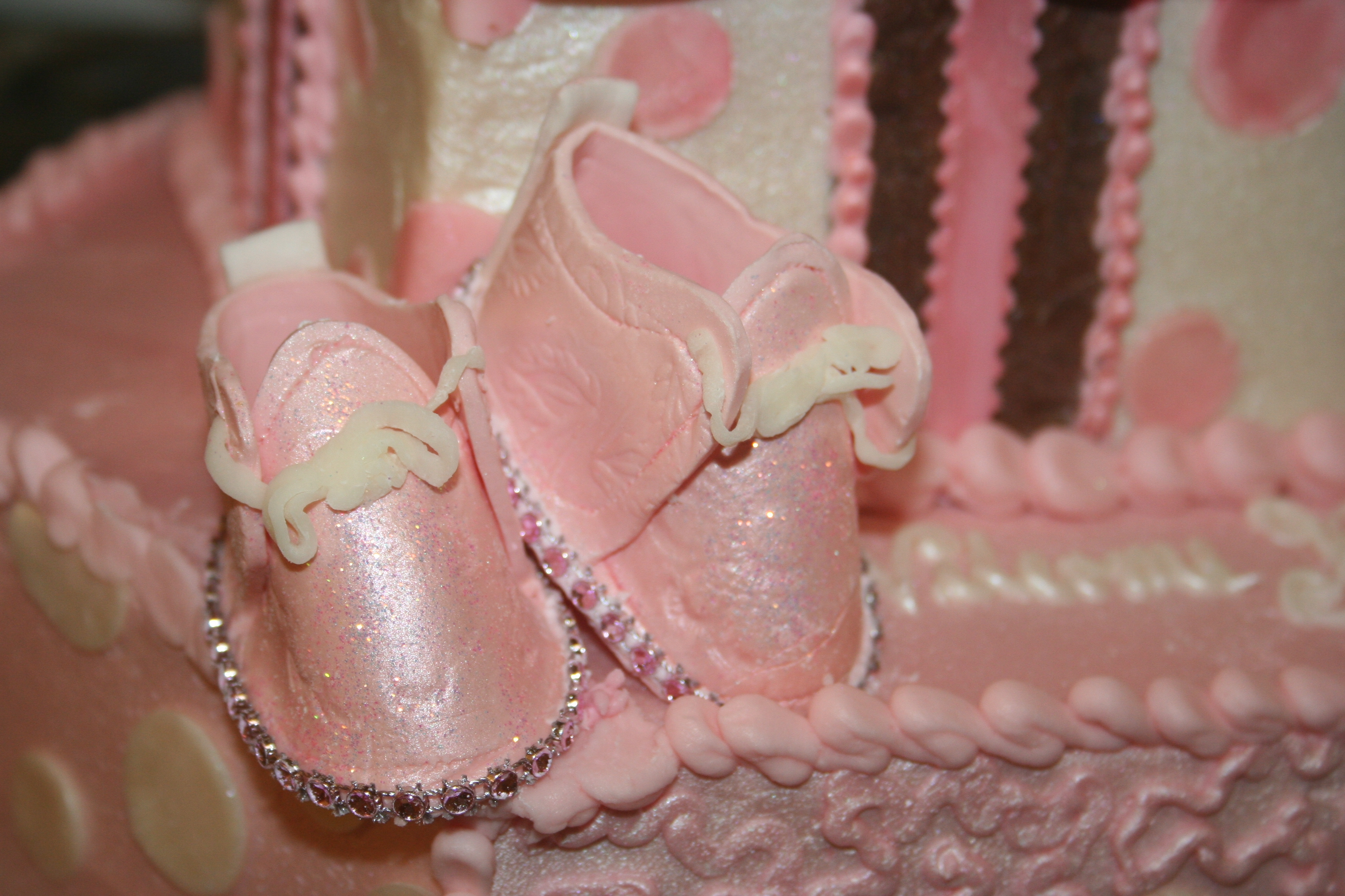 2f6f273141cf Baby Shower Cake With Pink Bling - CakeCentral.com